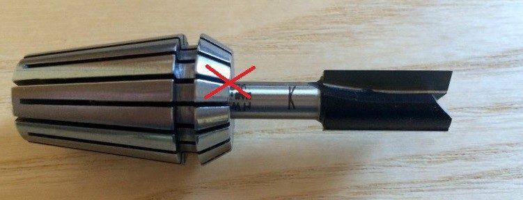 Pinza elastica - fresa inserita errata